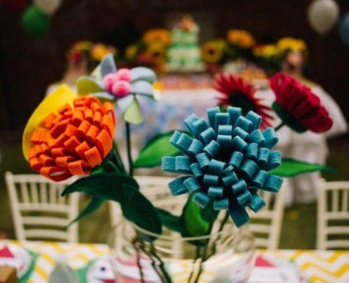 flor decorativa de mesa - masha e o urso