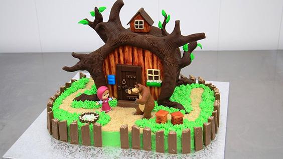 bolo casa urso da masha