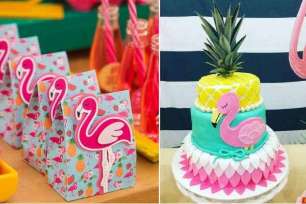 bolo e lembrancinhas flamingo